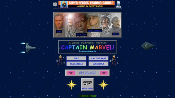 Marvel запустил сайт в стиле 90-х, чтобы прорекламировать новый фильм